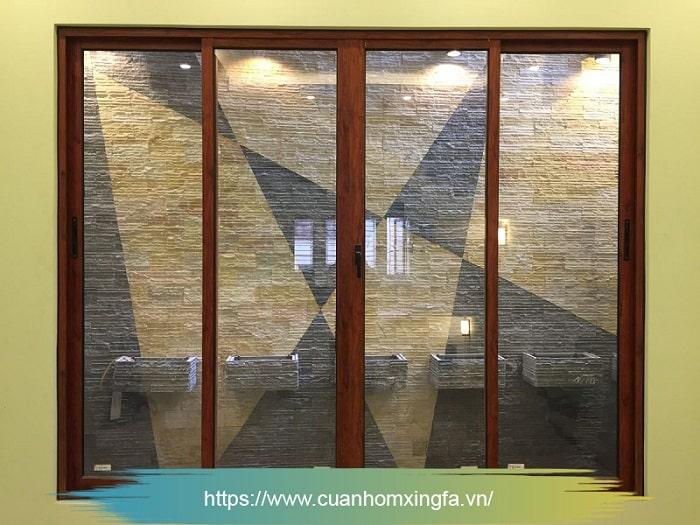 Cửa nhôm Xingfa trượt lùa màu vân gỗ tự nhiên (cửa sổ)