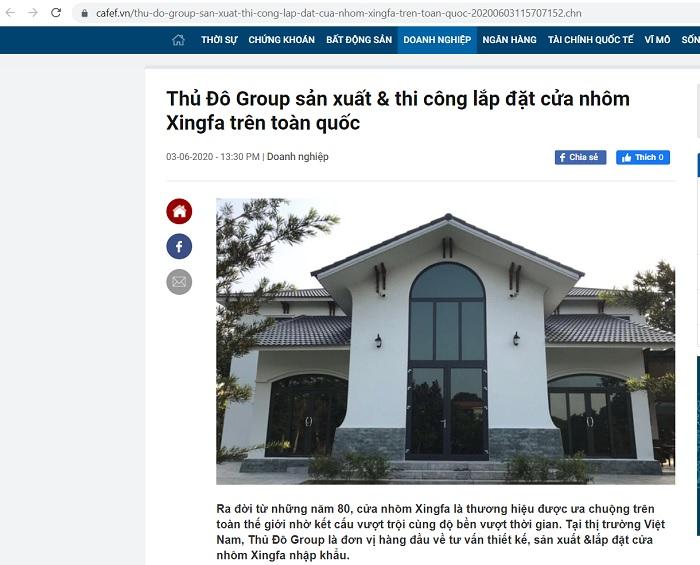 Cửa nhôm Xingfa tại Thủ Đô Group nổi bật trên các mặt báo lớn