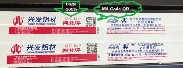 Nhôm Xingfa chính hãng nhập khẩu 100% có mã Code QR và CO, CQ