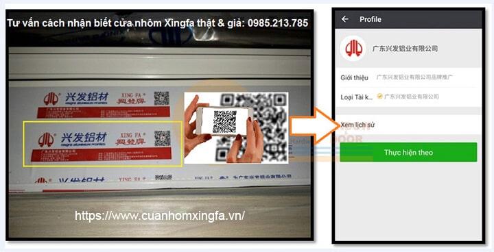 Cửa nhôm Xingfa kiểm tra chính hãng bằng phần mềm quét mã QR-CODE